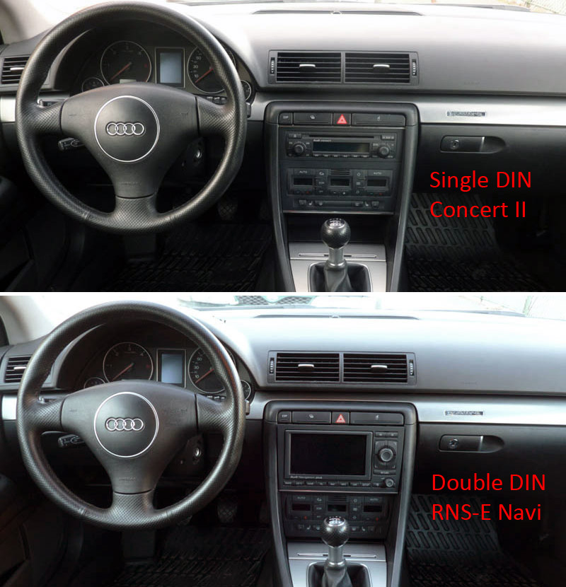 My rns e install with double din conversion audi for Mueble 2 din audi a4